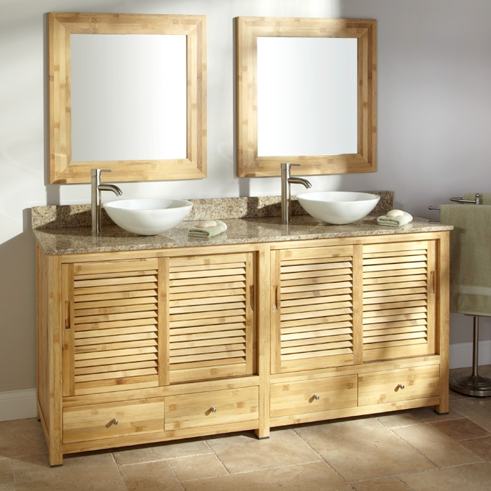 Bamboo Bathroom Cabinets Cabinets 72 Arrey Bamboo Double Vanity Cabinet For Vessel Sinks