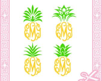 Pineapple Top Monogram Frame Cut Files SVG / pdf / EPS