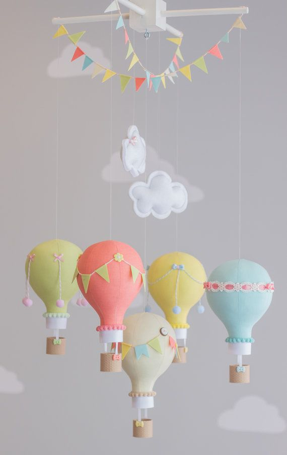 Colorful Baby Mobile Hot Air Balloons Travel by sunshineandvodka