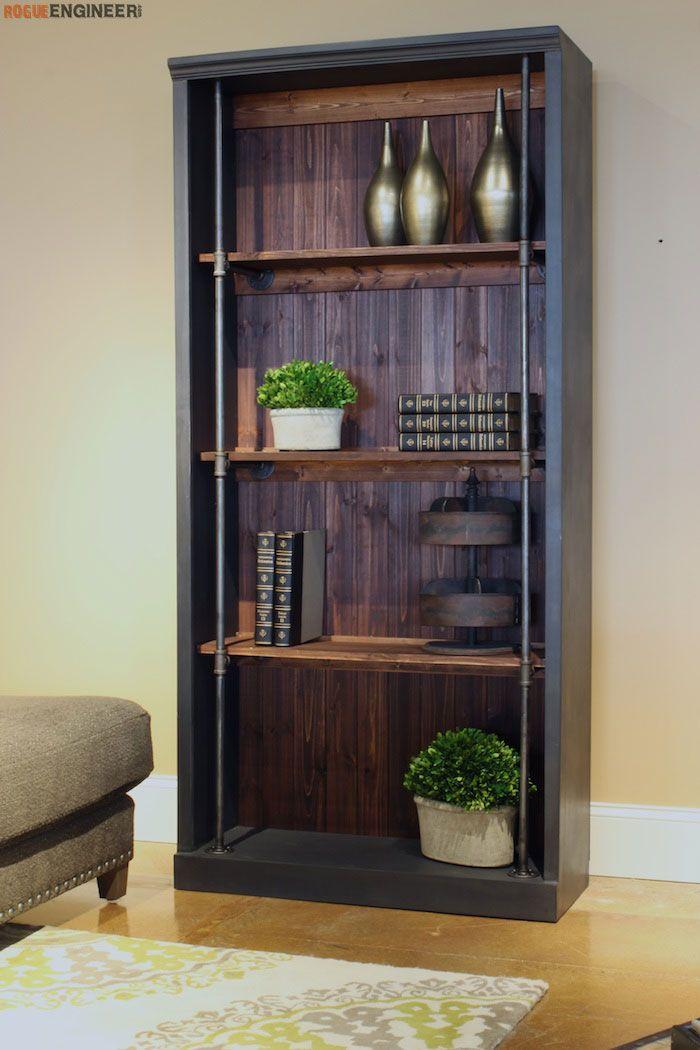DIY Industrial Bookcase  - Free DIY plans   rogueengineer.com #IndustrialBookcase #LivingroomDIYplans