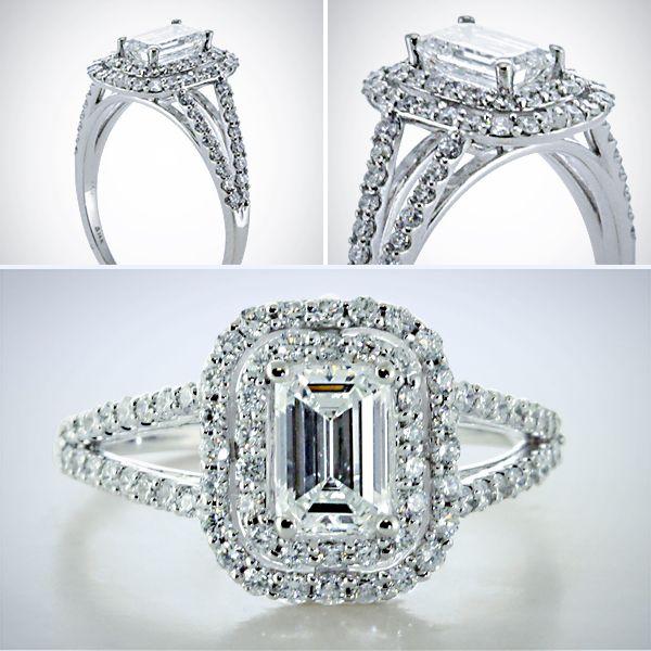 Split Shank Double Halo Diamond Engagement Ring in White gold