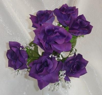 42 OPEN ROSES ~ DARK PURPLE Soft Silk Wedding Flowers Bouquets DIY Centerpieces