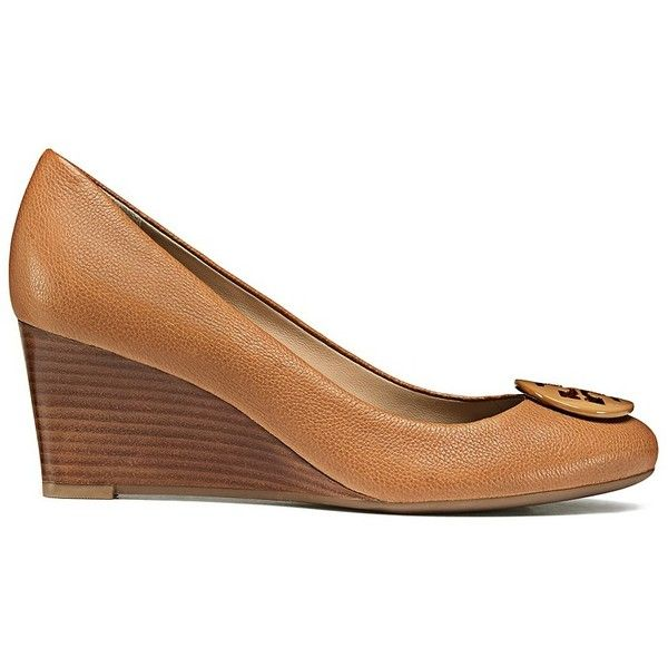 Tory Burch Melanie Wedges (345 AUD) ❤ liked on Polyvore featuring shoes, tan, tan wedge shoes, wedge heel shoes, wedges shoes, wedge sole shoes and tan shoes