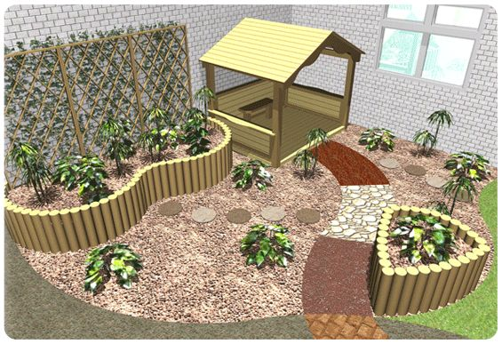 Nursery School Playground Corner Garden Kids Wooden