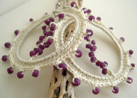 Ivory Cream Lace Earrings  Beige Earrings  Lacy by MaryKCreation