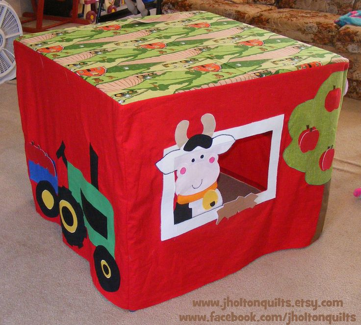 Pretend Farm Playhouse fits over card table with tractor, cows and horse--Cute Barn includes removable apples, hay, chicken and eggs. $150.00, via Etsy.