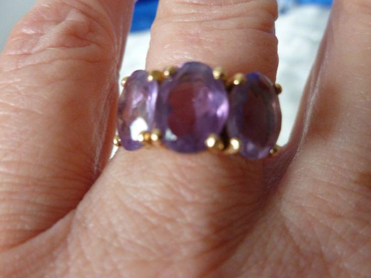 14KT Gold Amethyst Ring - Vintage Amethyst Gold Ring - 14CT Gold Gem Stone Ring - Vintage Gem Stone Ring - Trio of Amethystsin !4KT Gold by Teddyrose54 on Etsy