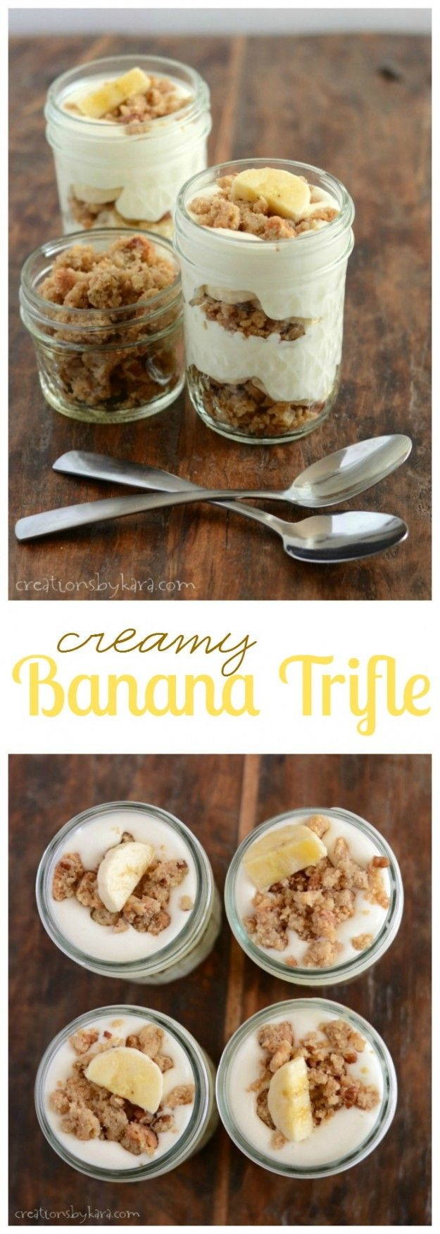 Creamy Banana Trifle served in little mason jars. If you love banana cream pie, you need to try this recipe!