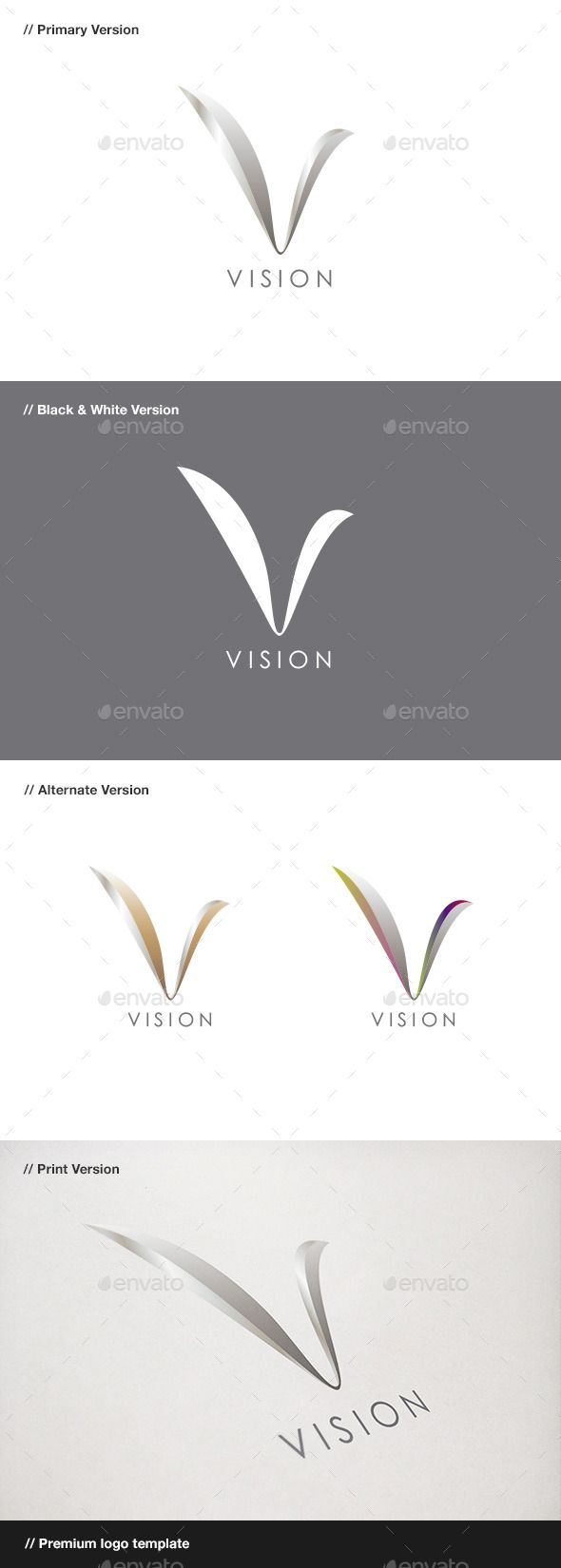 Vision Abstract u0026 Letter V Logo