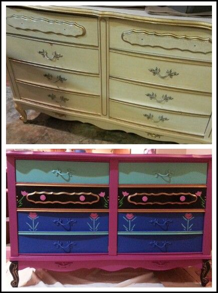 Frozen Before and After photos of the Anna inspired dresser. ~ KMP