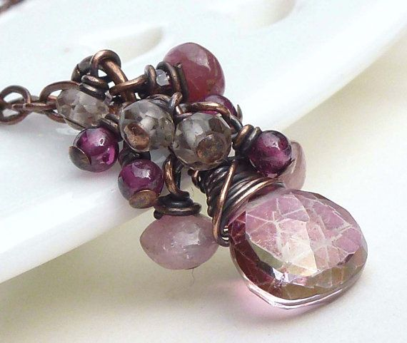Necklace, dusky rose pink, mystic quartz gemstone, wire wrapped, copper jewelry
