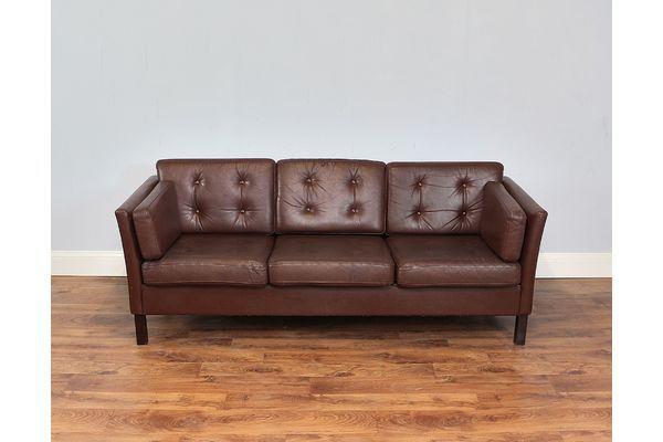 Small Leather Danish Three Seater Sofa, Dark Brown | vinterior.co