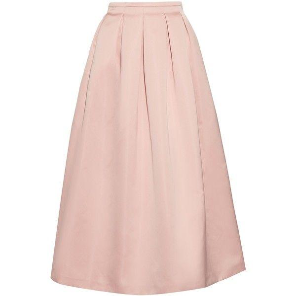 Rochas Pleated duchess-satin skirt ($610) ❤ liked on Polyvore featuring skirts, saias, light pink, light pink skirt, box pleat skirt, rochas, pink skirt and pink pleated skirt