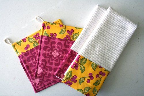 kitchen towels (decorative material will show on both sides and extend beyond edge of towel)