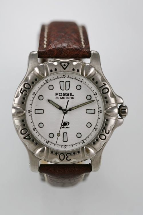 Fossil Blue Watch Mens Leather Brown Stainless Steel Silver 50m White Quartz