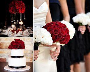 Combinações de cores - vermelho, preto e branco