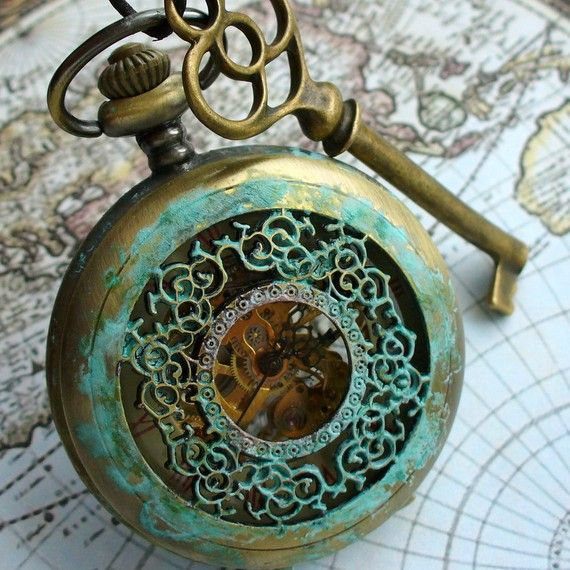 Alamodeus: Patina green ... pocket watch