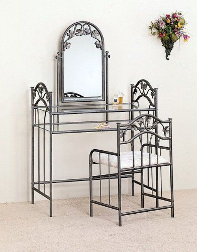 Nickel Bronze Finish Metal Vanity Table Stool Mirror Set Polo 39 S