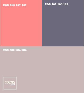 Abbinamento colori grigio chiaro freddo   grigio scuro freddo  rosso rosa