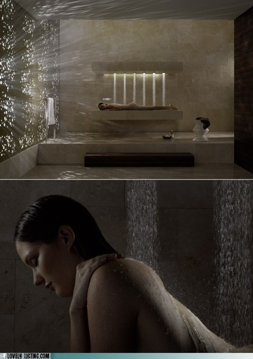 I love the wall with the pinholes for light....like a million little starts.    And the Vichy shower is pretty grand, too!