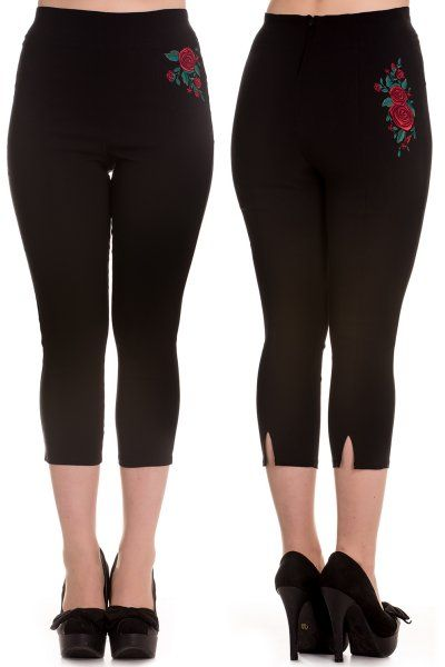 Lillian Red Roses Black Capri Trousers by Hell Bunny