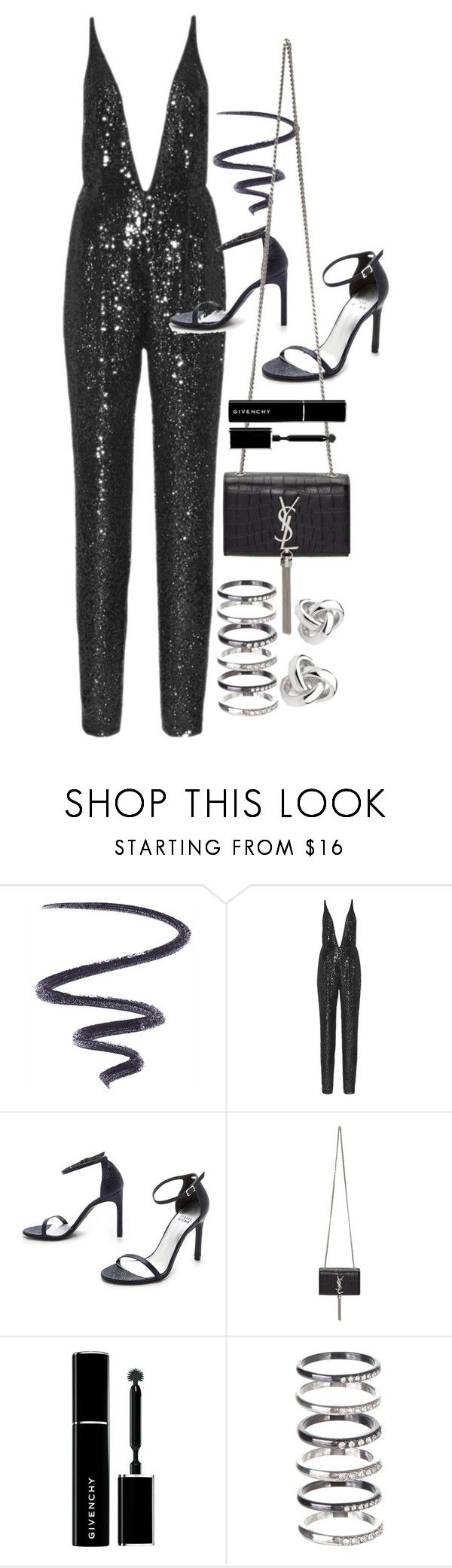 """""""NYE Look 4"""" by nikka-phillips ❤ liked on Polyvore featuring L'Oréal Paris, Naeem Khan, Stuart Weitzman, Yves Saint Laurent, Givenchy, M.N.G and Georgini"""