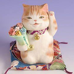 もりわじんのカレンダー「ねこじゃれ2008」掲載作品です。2月●本体サイズ:高さ約13×幅10×奥行10cm●座布団付●こちらの作品は注文制作になります。 ご注文をいただいてから、もりわじんが手作りで…