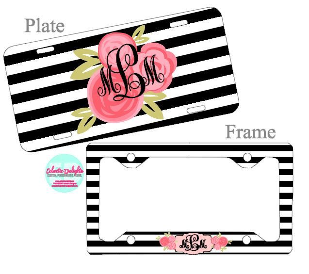 A personal favorite from my Etsy shop https://www.etsy.com/ca/listing/472176939/personalized-license-plate-and-frame-set