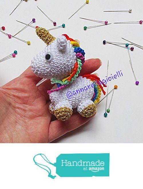 Amigurumi Unicorno- Giocattoli - Peluche - Uncinetto - Animali - Bianco - Handmade - Fatto a mano -Regalo - Bimbo, bimba, bomboniera, 10 cm, portachiavi, accessori, da Annarella Gioielli https://www.amazon.it/dp/B01LXAC0Q4/ref=hnd_sw_r_pi_dp_hFO5xbHGMYCHS #handmadeatamazon