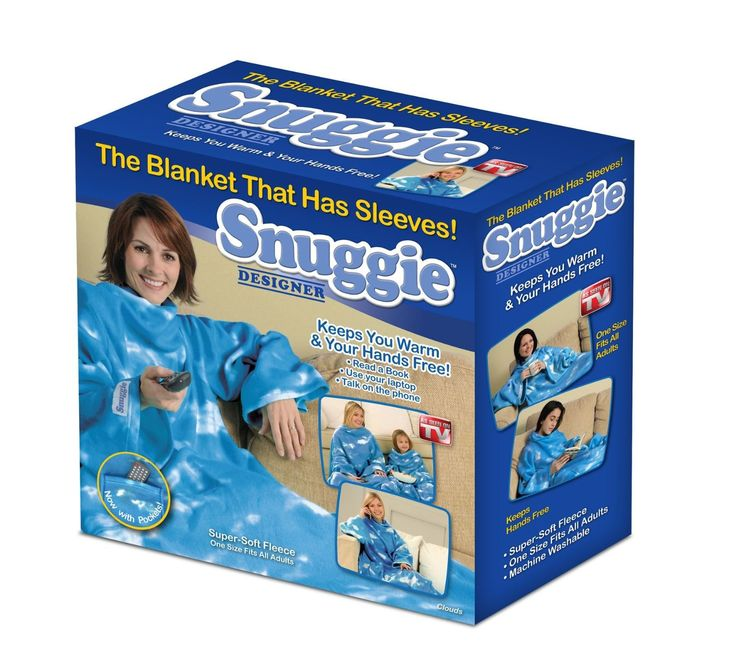 Snuggie Fleece Blanket with Sleeves. Hands free - use phone, remote, laptop Oversized sleeves - stay wrapped in warmth Super large - one size fits all Perfect for outdoor events Now with pockets