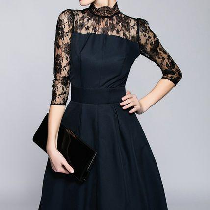 ドレス-ミニ・ミディアム 気品のあるレース☆上品なミモレ丈パーティードレス 結婚式(4)