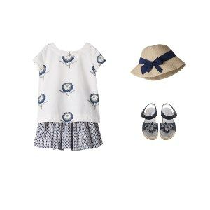 Ecru blouse with blue flowers and blue kirt with printed graphics in @BONPOINT spring summer 2014 collection. #beige #ecru #bonpoint #SS14 #spring #summer #springsummer2014 #childrens #kids #childrenswear #kidswear #kidsfashion #girls #boys