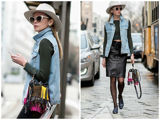 Get this look: http://lb.nu/look/8559581  More looks by Anastasiia Masiutkina: http://lb.nu/anastasiiamas  Items in this look:  Rag & Bone Hat, Fendi Sunglasses, Topshop Top, Topshop Denim Jacket, Topshop Leather Skirt, Saint Laurent Bag   #bohemian #street #anastasiiamasiutkina #eatdresstravel #fashioninfluencer #fashion #fashionista #streetstyle #streetstylevgenio