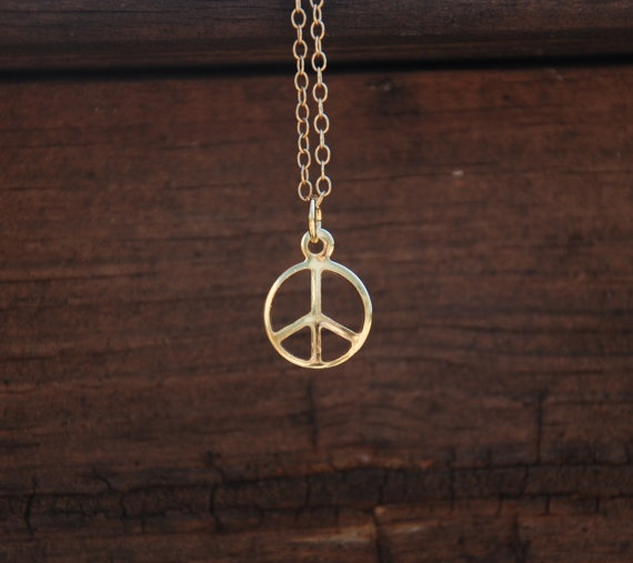 14K Gold Filled Peace Sign Necklace Peace sign by YQYJewelry, $25.99