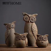 Americano retro rústico cerâmica coruja enfeites de decoração para bares café decoração feitos à mão artesanato decoração da casa do vintage(China (Mainland))