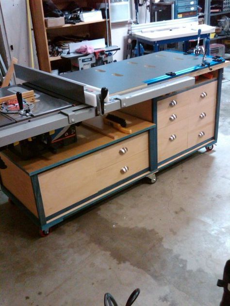 Table Saw Station With Casters Possible Use Of My Material Cast Polyamide For The Casters Table Saw Woodworking Table Saw Table Saw Station