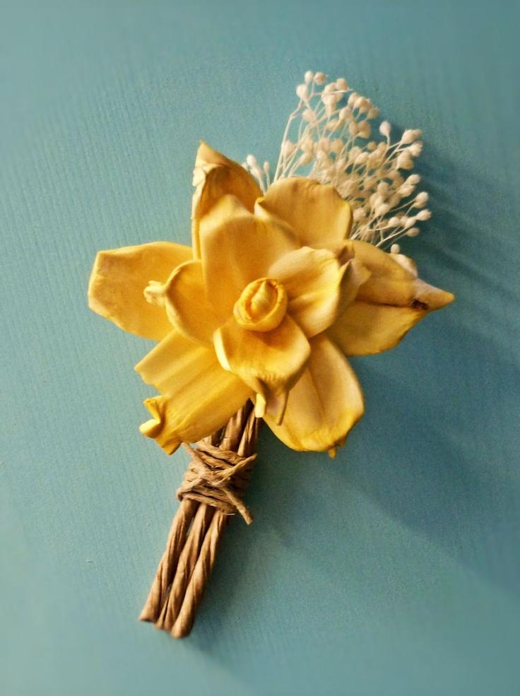 Custom Boutonniere - Yellow Groom Wedding, Buttonhole, Groomsmen, Sola Flower, Wedding, Wedding Flowers. $16.00, via Etsy.