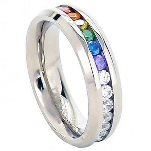 Pride Shack – Lesbian Gay Pride Wedding Ring Band Rainbow String Smooth Full CZ