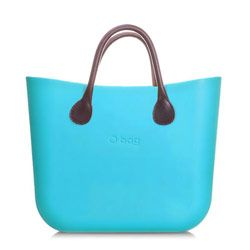 Mini O bag - Water Blue with Brown Leather Short Handle