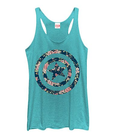 Another great find on #zulily! Tahi Blue Captain America Floral Razorback Tank - Women's #zulilyfinds