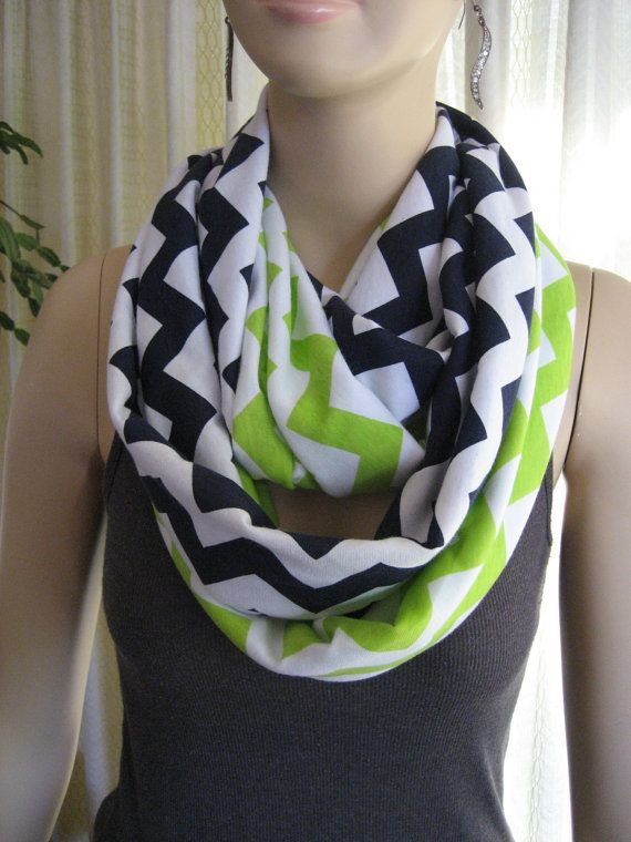 2 pack lot Navy Blue and Lime Green Chevron Infinity Scarves - team colors - Seattle Seahawks - ChevronScarf