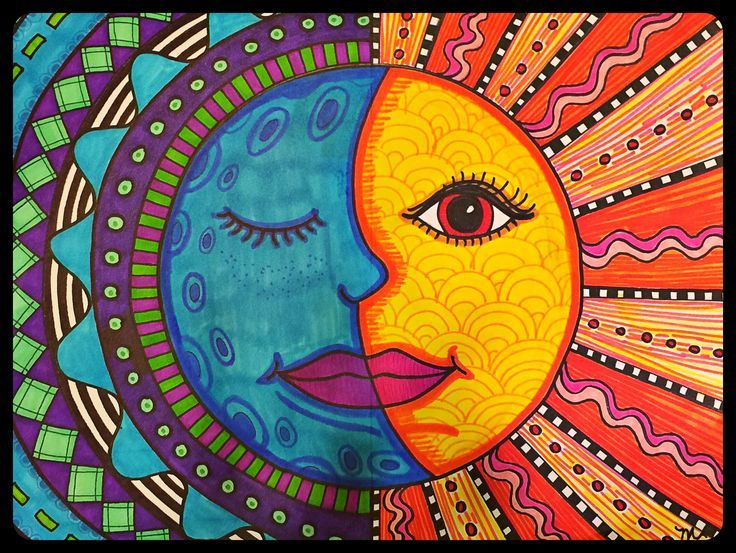 Details about US Seller-Mexican sun face art poster kitchen wall hangings - Posters Doodle Art, Pinterest Arte, Art Soleil, Arte Elemental, Classe D'art, Art Visage, Warm And Cool Colors, Warm Colours, Kunst Poster