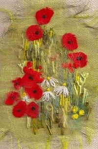 Poppies Again Textile Mini Embroidery Project 1211