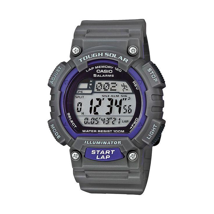 Casio Men's Tough Solar Digital 120-Lap Chronograph Watch, Grey