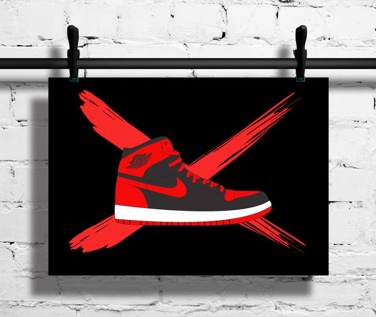 Nike Air Jordan 1 Bred Poster – 1985 – Sneaker Print – A4 - A3 – Trainer –  Black – Red – Banned X - 1 – Art – Sneaker - Basketball - Sport