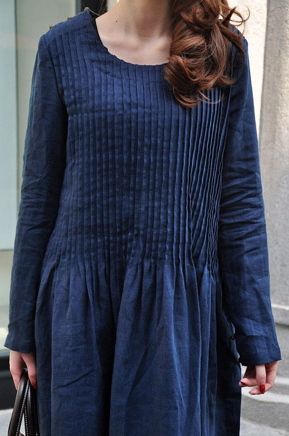 Pleated Linen Winter Dress in Blue / Long Dress by camelliatune, $79.00