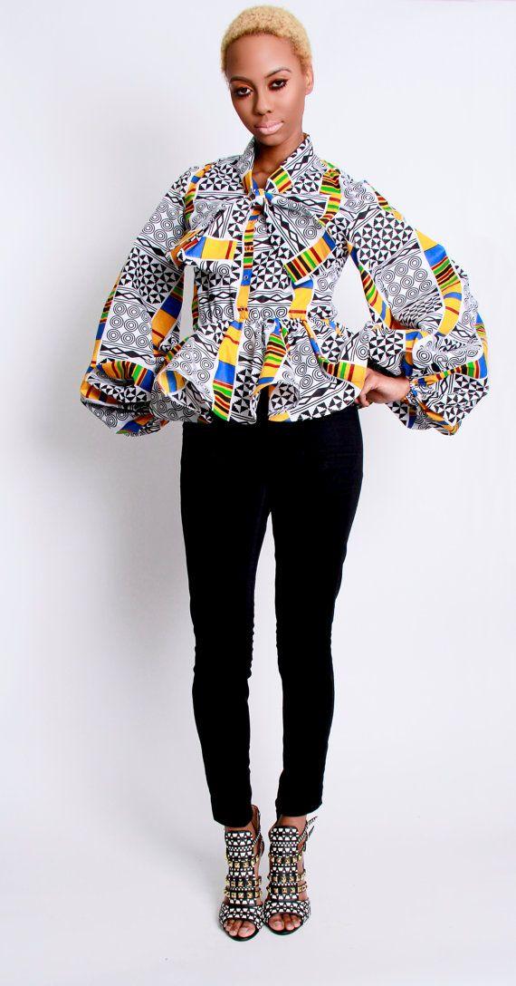 The Naomi African Print 100 Holland Wax Cotton por DemestiksNewYork, $135.00