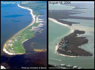 Hurricane Charley splits North Captiva Island apart 2004