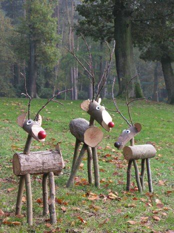 rustic reindeer. Another example of rustic that works. They look alive, right? A very simple idea, very well executed. | outside Christmas decorations