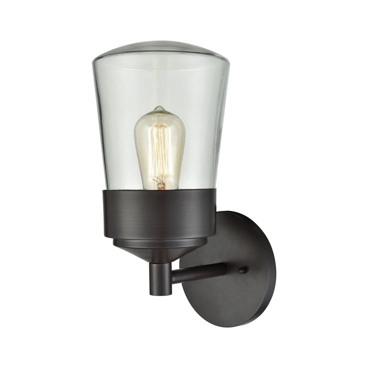 Mullen Gate 1 Light Outdoor Wall Sconce In Oil Rubbed Bronze With Clear Glass By Elk